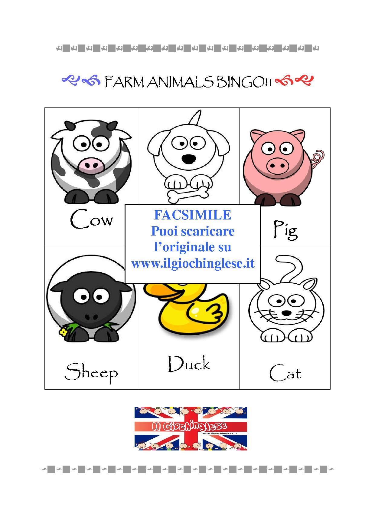 Materiale Stampabile Il Bingo Degli Animali Della Fattoria Il