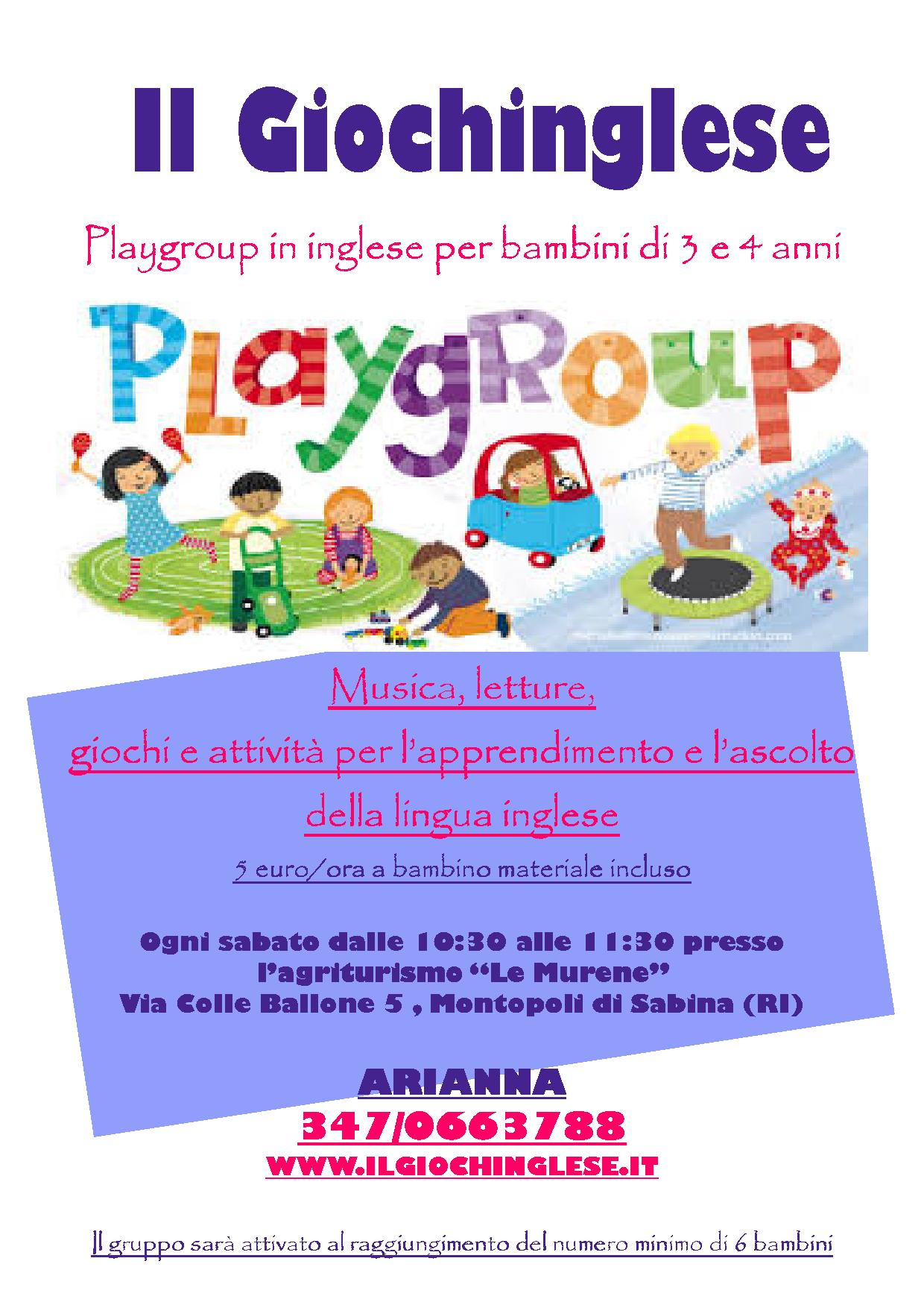 "Super Playgroup in inglese per bimbi di 3 e 4 anni presso ""Le Murene"" di  UZ21"